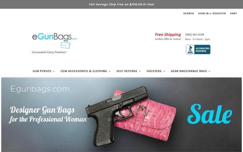 Screenshot of Home Page egunbags.com - Leather Gun Purses, Concealed Carry Purses and Firearm Holster Handbags. Locking pockets for your handgun - captured Oct. 18, 2018