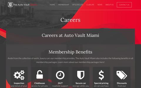 Screenshot of Jobs Page theautovaultmiami.com - Careers - The Auto Vault Miami - captured Sept. 20, 2018