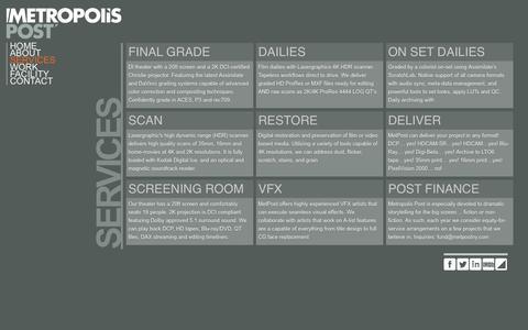 Screenshot of Services Page metpostny.com - Services | Metropolis Post - captured Oct. 27, 2014