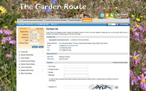 Screenshot of Contact Page garden-route-tours.travel - We are Local - Contact us if you Travel to Garden Route - captured March 13, 2016