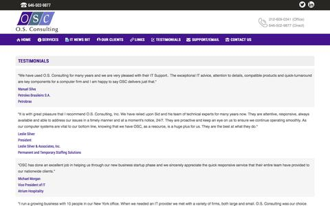 Screenshot of Testimonials Page osconsulting.com - O.S. Consulting - captured Nov. 2, 2017