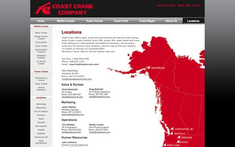 Screenshot of Contact Page Locations Page coastcrane.com - Coast Crane Rental and Service Locations | Tower Crane Sales, Maintenance and More - captured Oct. 22, 2014