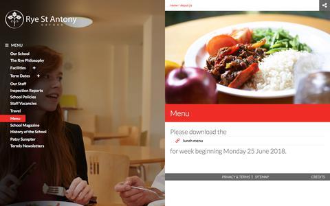 Screenshot of Menu Page ryestantony.co.uk - Menu | Rye St Antony - captured June 30, 2018