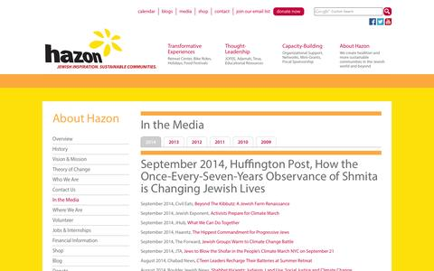 Screenshot of Press Page hazon.org - In the Media - Hazon - captured Sept. 25, 2014