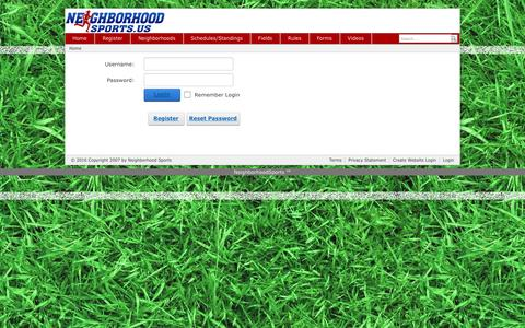 Screenshot of Login Page neighborhoodsports.us - User Log In - captured Jan. 11, 2016