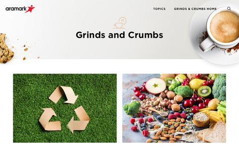 Screenshot of Blog aramarkrefreshments.com - Grinds and Crumbs - Aramark Refreshments' Blog - captured Nov. 10, 2019