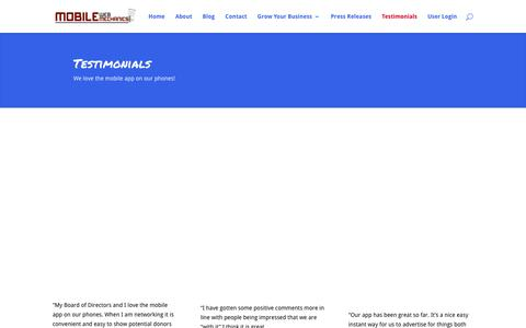 Screenshot of Testimonials Page mobilewebmechanics.com - Mobile Web Site Apps | Custom Web Apps Albany NY | Mobile Web Mechanics  | Mobile Web Mechanics - captured Feb. 25, 2016