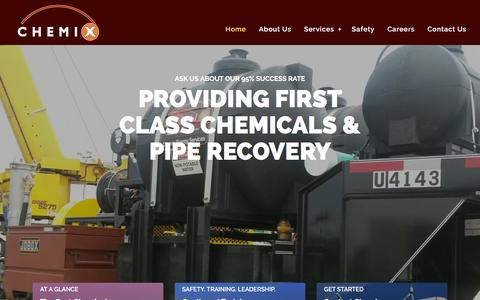 Screenshot of Home Page chemixservices.com - Chemical Mixing Plant & Pipe Recovery | Chemix Services - captured Jan. 27, 2016