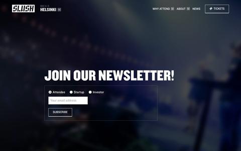 Screenshot of Signup Page slush.org - Newsletter Sign Up - Slush 2018 - captured June 13, 2018