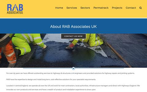 Screenshot of About Page rab-associates.co.uk - About RAB Associates – RAB Associates UK Ltd – Expansion Joints, Ironworks, Inlay Repairs for Highways and Bridges - captured Oct. 23, 2017