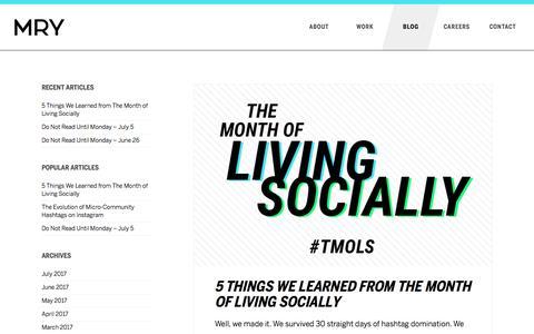 Screenshot of Blog mry.com - Culture and Marketing Blog | MRY - captured July 15, 2017