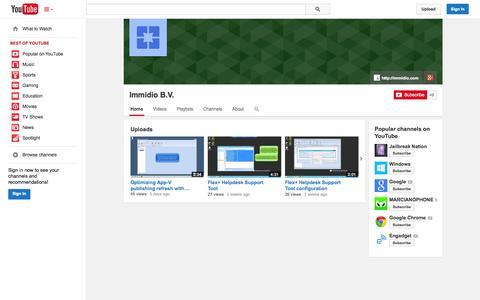 Screenshot of YouTube Page youtube.com - Immidio B.V.  - YouTube - captured Oct. 23, 2014