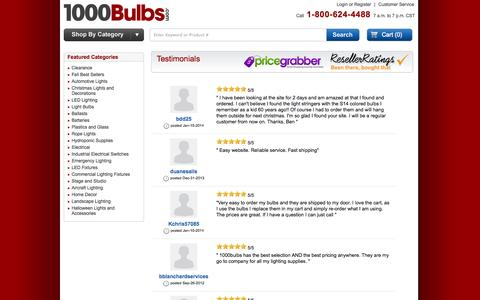 Screenshot of Testimonials Page 1000bulbs.com - 1000Bulbs.com - captured Oct. 27, 2014