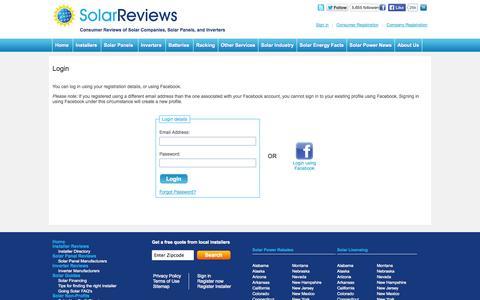 Screenshot of Login Page solarreviews.com - Solar power installer reviews, solar company reviews, solar panels reviews - captured Sept. 19, 2014