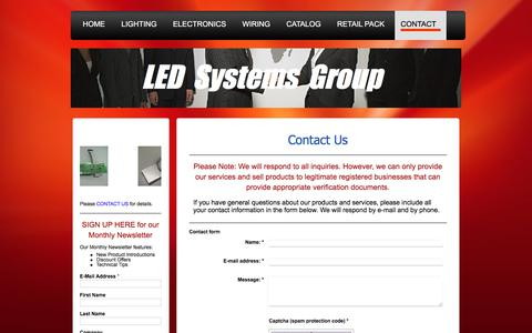 Screenshot of Contact Page ledsgw.com - LED Systems Group LLC, LED Lighting, Electronics, Power and Signal Distribution, Wiring - captured Sept. 25, 2018