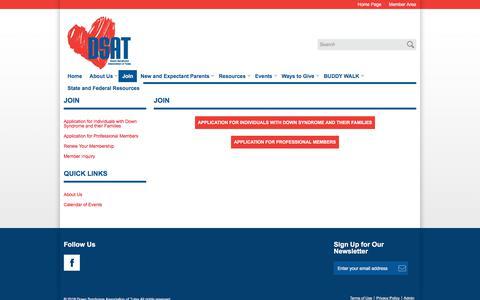 Screenshot of Signup Page dsat.org - Down Syndrome Association of Tulsa - Join - captured July 2, 2018
