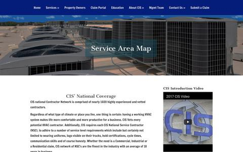 Screenshot of Maps & Directions Page cisclaims.com - Service Area Map | Commercial Insurance Services - captured July 8, 2017