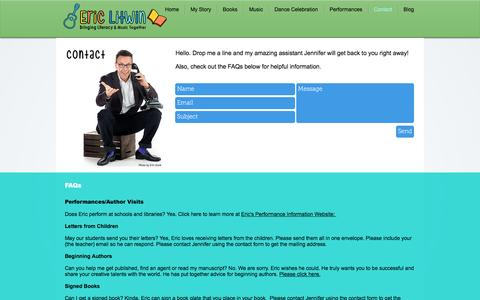 Screenshot of Contact Page ericlitwin.com - Eric Litwin, Original Author of Pete the Cat, The Nuts and Groovy Joe | Contact - captured Feb. 26, 2017