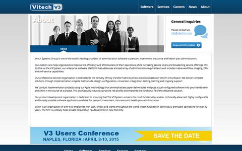 Screenshot of About Page vitechinc.com - Vitech Systems Group - About - captured Oct. 26, 2014