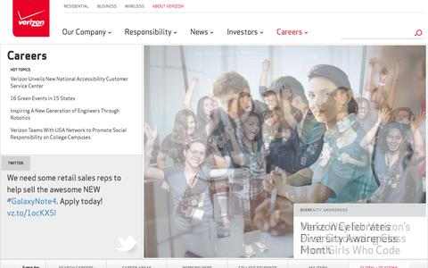 Screenshot of Jobs Page verizon.com - Verizon Careers - Job Opportunities - captured Oct. 30, 2014
