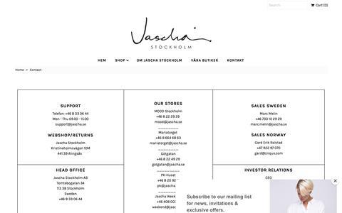 Screenshot of Contact Page jascha.se - Contact – Jascha Stockholm - captured Oct. 19, 2018
