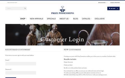 Screenshot of Login Page prizepossessions.com - Customer Login - captured Nov. 11, 2018