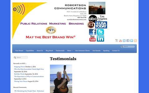 Screenshot of Testimonials Page robertsoncomm.com - Testimonials - Robertson Communications Corp. - captured Oct. 6, 2014