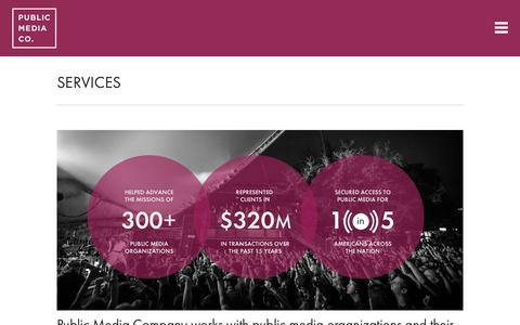 Screenshot of Services Page publicmedia.co - Public Media Company  » SERVICES - captured Feb. 2, 2016
