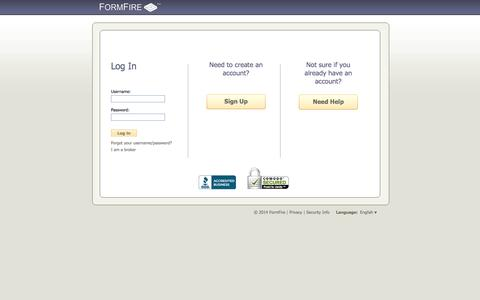 Screenshot of Signup Page formfire.com - FormFire - captured Oct. 29, 2014