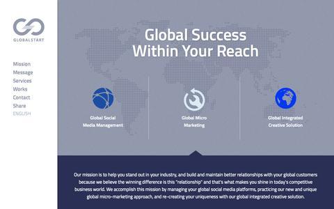 Screenshot of Home Page theglobalstart.com - Global Start, LLC. - captured Oct. 8, 2014