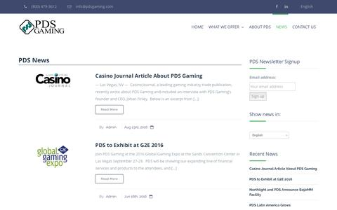 Screenshot of Press Page pdsgaming.com - News – PDS Gaming - captured Oct. 3, 2016