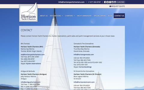 Screenshot of Contact Page horizonyachtcharters.com - Contact | Horizon Yacht Charters - captured May 21, 2017