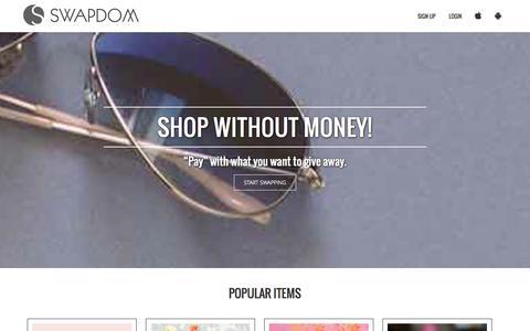 Screenshot of Home Page swapdom.com - Swapdom | Circle Swaps, Square Deals - captured Sept. 22, 2014