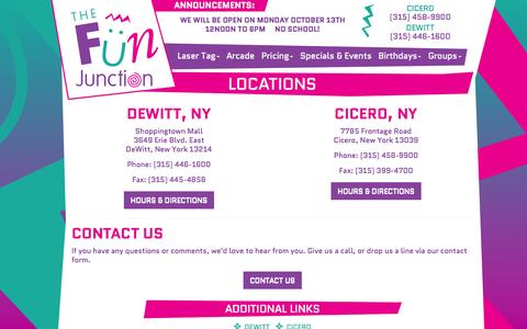 Screenshot of Maps & Directions Page thefunjunction.com - Locations | The Fun Junction | Fun Birthday Parties in Cicero & DeWitt, NY | Laser Tag, Arcade & More | DeWitt & Cicero, NY - captured Oct. 6, 2014