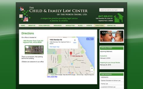 Screenshot of Maps & Directions Page lawforchild.com - DIRECTIONS - The Child & Family Law Center of Highland Park, IL | Juvenile Law - captured Feb. 18, 2016