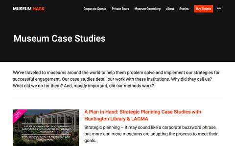 Screenshot of Case Studies Page museumhack.com - Museum Case Studies Archives - Museum Hack - captured April 19, 2018