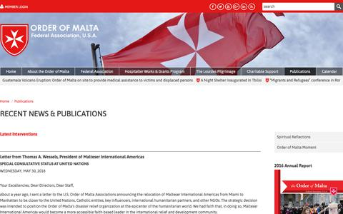 Screenshot of Press Page orderofmaltafederal.org - The Order of Malta Federal Association, USA is a lay religious order of the Catholic Church. - captured June 11, 2018