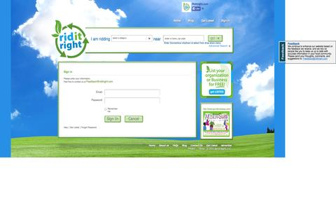 Screenshot of Login Page riditright.com - Welcome to Ridit Right:- - captured Oct. 7, 2014