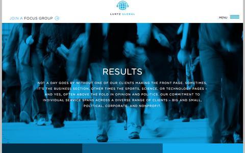 Screenshot of Testimonials Page luntzglobal.com - Results - Luntz Global - captured July 24, 2018