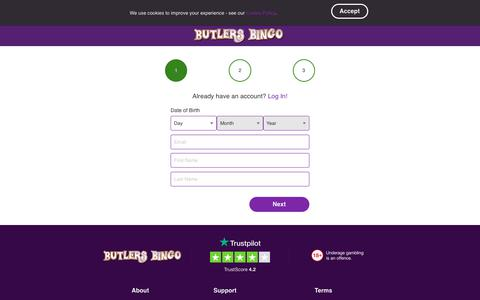 Screenshot of Signup Page butlersbingo.com - Butlers Bingo for great Bingo and slots, with free spins and new player bonus. - captured Oct. 15, 2019