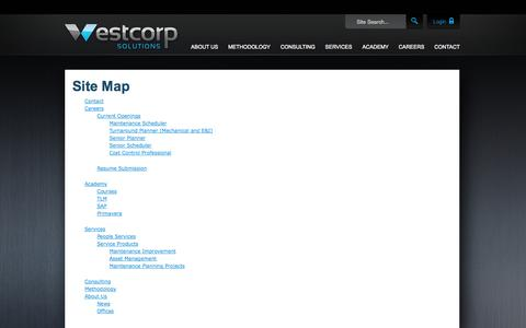 Screenshot of Site Map Page westcorpsolutions.com - Site Map | WestCorp Solutions - captured Oct. 7, 2014