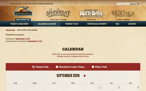 Screenshot of Hours Page silverdollarcity.com - Dates & Hours | Park Schedule | Silver Dollar City Calendar - captured Sept. 14, 2016