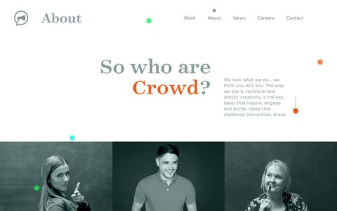 Screenshot of About Page thisiscrowd.com - About Crowd: a global creative communications agency - Crowd - captured Oct. 14, 2016