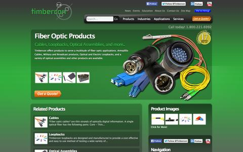 Screenshot of Products Page timbercon.com - Fiber Optic Products - captured Oct. 7, 2014