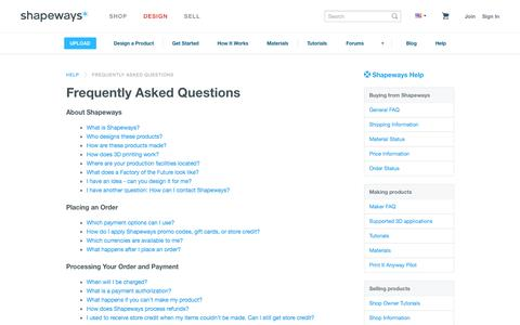 Screenshot of FAQ Page shapeways.com - Frequently Asked Questions - Shapeways - captured Oct. 28, 2014