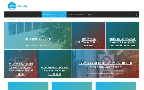 Screenshot of Blog pressfriendly.com - PressFriendly Blog - - captured Sept. 25, 2014