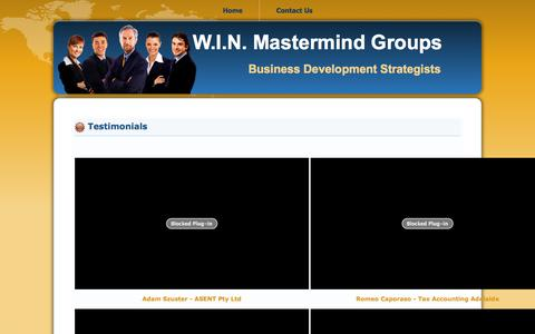 Screenshot of Testimonials Page winmastermind.com.au - Testimonials - captured Nov. 5, 2014