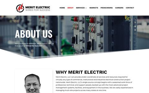 Screenshot of About Page merit-electric.com - Merit Electric | About Merit Electric | Electrician | Electrical Services - captured July 27, 2018