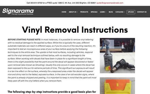 Vinyl Removal Instructions | Signarama Colorado