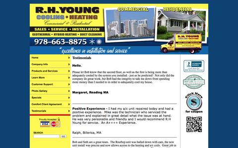 Screenshot of Testimonials Page rhyoung.com - R.H. Young Cooling and Heating, Inc. Furnace, Air Conditioning, GeoThermal, Duct Cleaning, Heating Contractors - Testimonials - captured Oct. 7, 2014